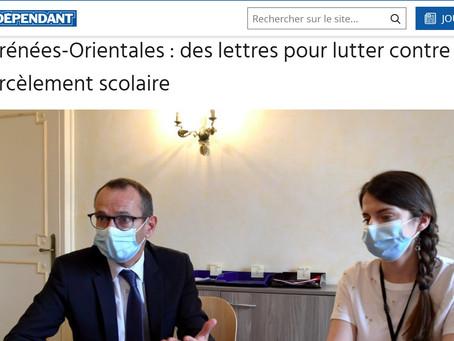 """""""Des lettres pour lutter contre le harcèlement scolaire"""" : L'Indépendant en parle !"""