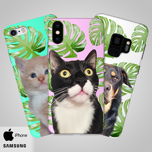 Tropical Leaves Custom Head and Shoulders Phone Case | iPhone,