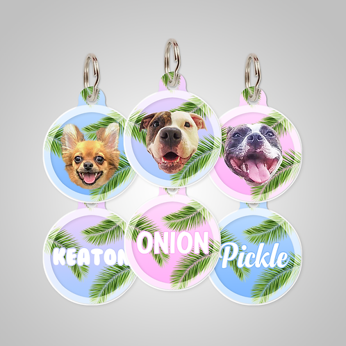 Custom Palm Tree Leaves Dog ID Tag