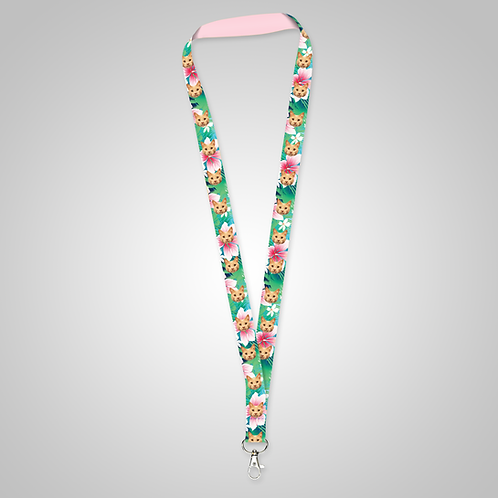 Tropical Hawaiian Flowers Custom Lanyard