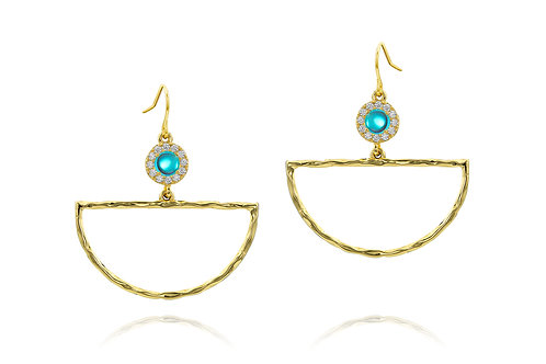 Arc Earrings   Yellow Gold Plated