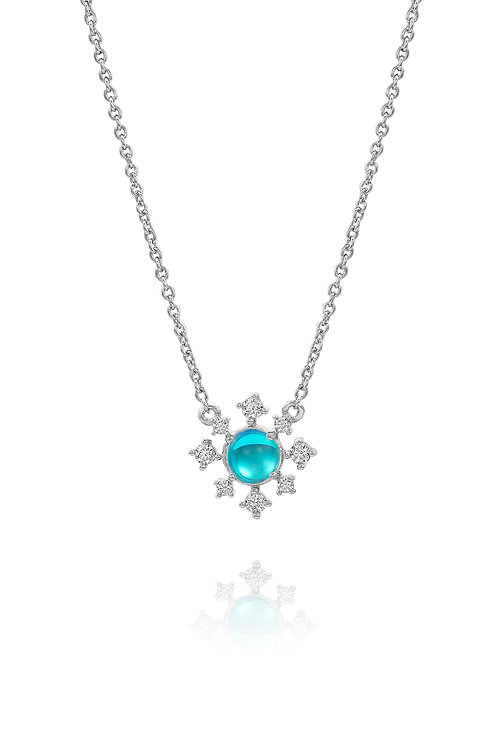 Snowflake Necklace | White Gold Plated