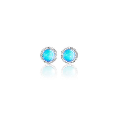 Circle Studs Earrings | White Gold Plated