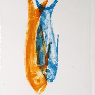dois peixes - monotipia