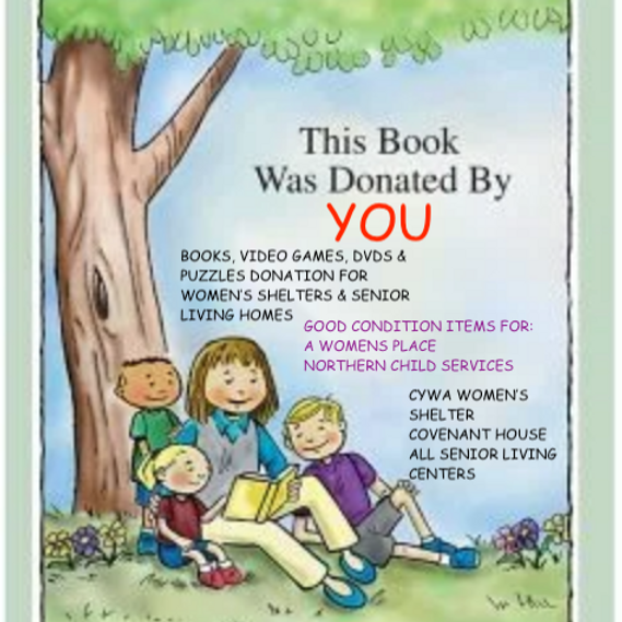 Book, Puzzle, DVD, and Video Game Donation for Women's Shelter & Senior Living Homes