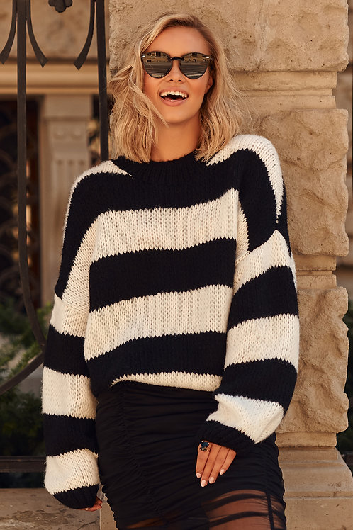 Sweater black/white