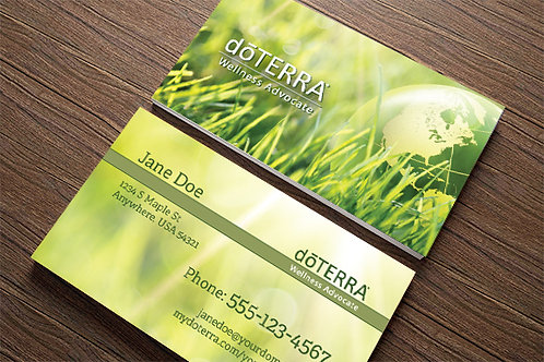 doterra business card green earth mockup