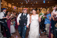 Wedding Couple Exit with Bubbles at The Art Center of Corpus Christi, TX