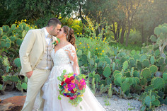 Bride and Groom in the South Texas cactus at the Caesar Kleberg Wildlife Center in Kingsville, Tx