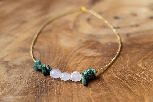 Collier quartz et turquoise