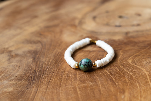 Bracelet turquoise et heishi coquillages
