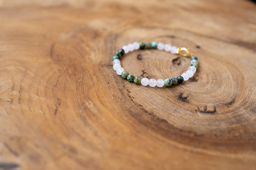 Bracelet perles quartz et turquoise