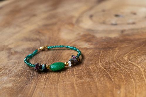 Bracelet jade verte et tourmalines