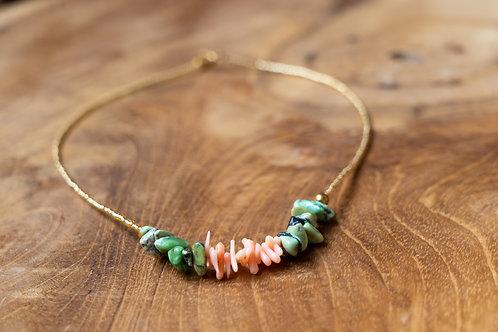 Collier corail et turquoise