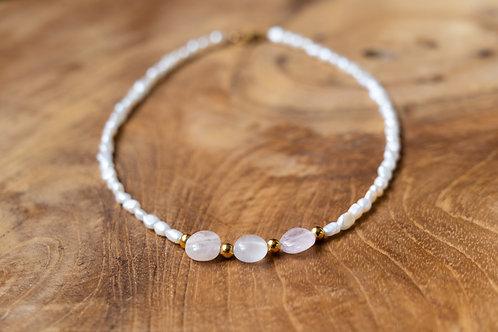 Collier perles et quartz