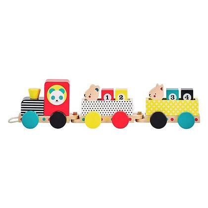 Petit train en bois coloré