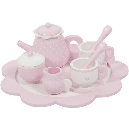 Service à thé en bois rose