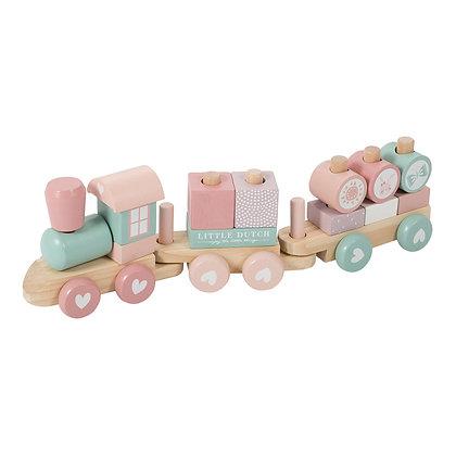 Train à blocs en bois rose