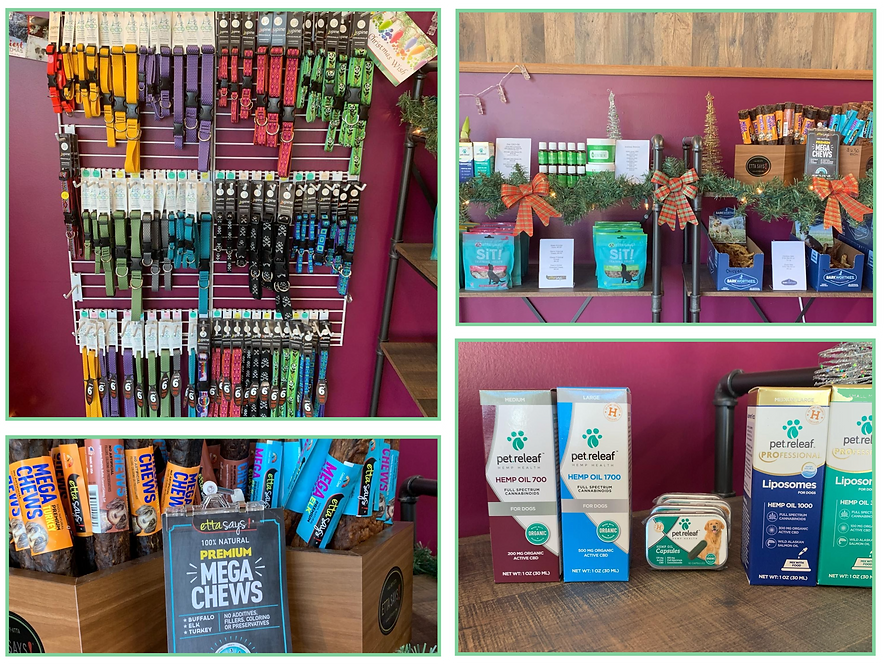 Collage of pictures displaying in-store products