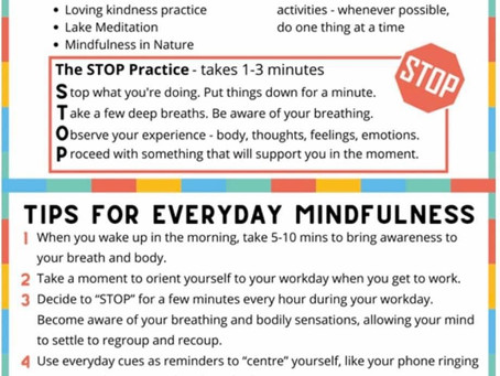A Mindfulness Postcard created by Dr Raman Chawla with STOP Practice and Practical Tips.