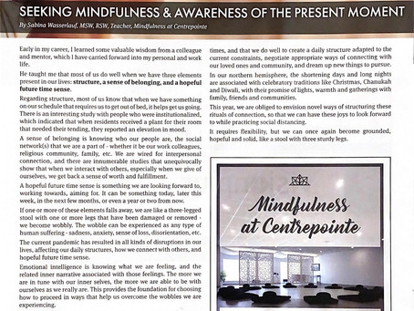 Sabina Wasserlauf's wise words on seeking Mindfulness and Awareness of the Present Moment