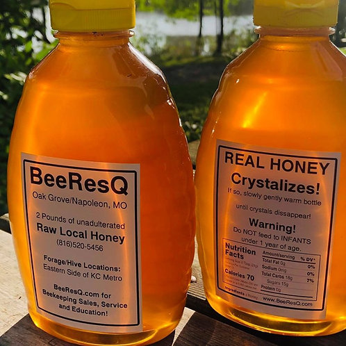 TWO POUND PLASTIC SQUEEZE BOTTLE - Raw, Local, Honey