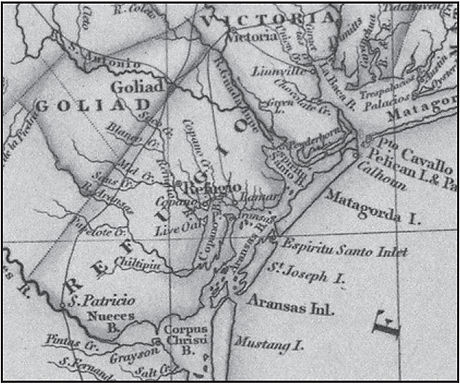 How is Aransas County shown on historic maps?