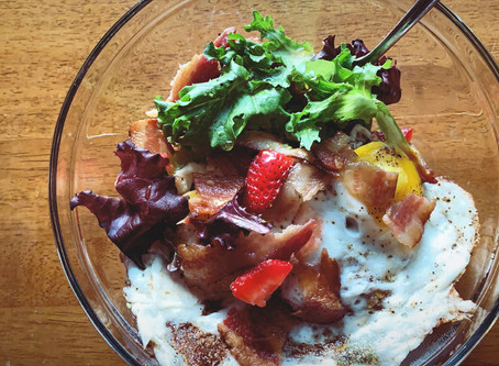 Strawberry, bacon, and egg breakfast salad