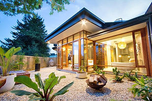 glass house with open lights