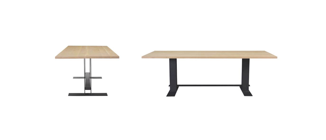 oak dining table with steel base by untitled design agency