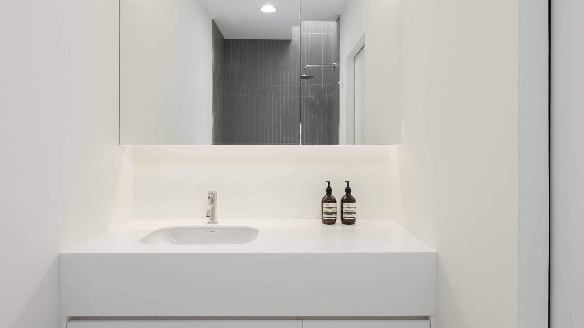 modern bathroom vanity with led mirror by untitled design agency