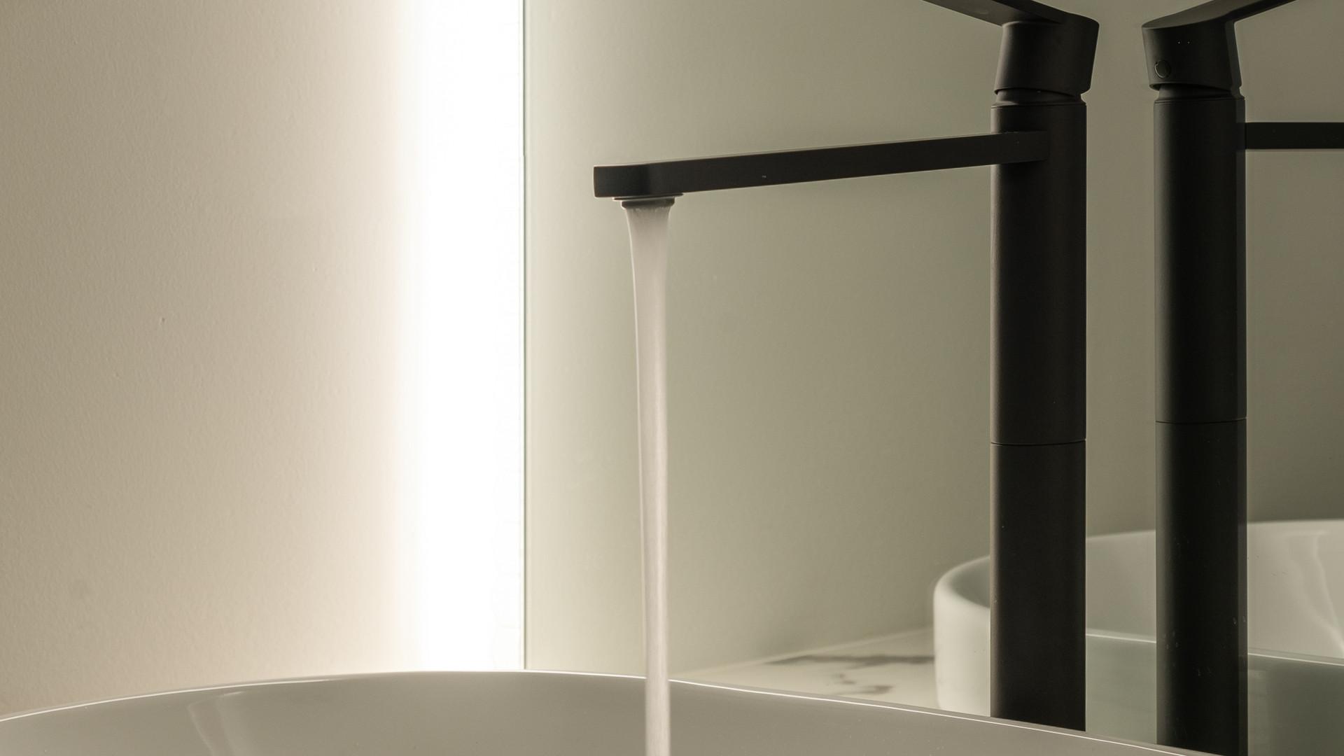 modern bathroom vanity sink with led mirror by untitled design agency