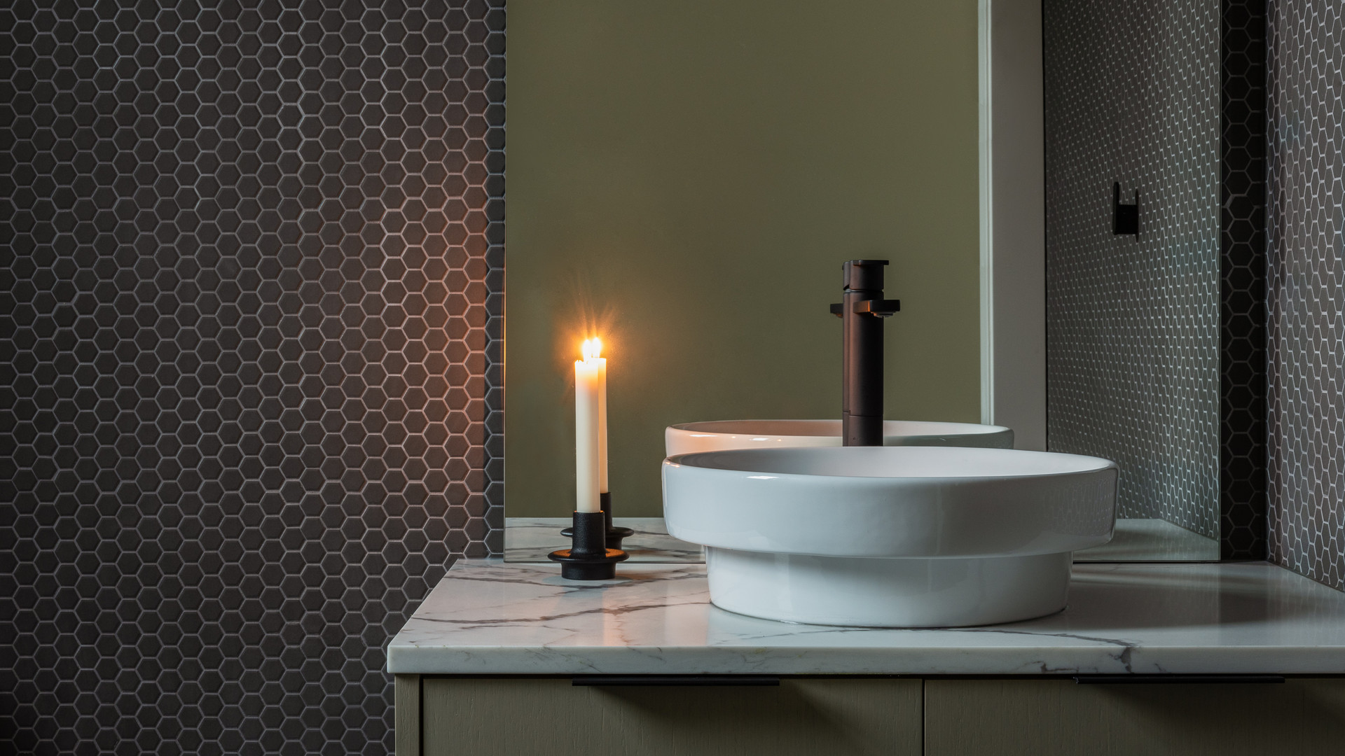 modern powder room with tiled wall by untitled design agency