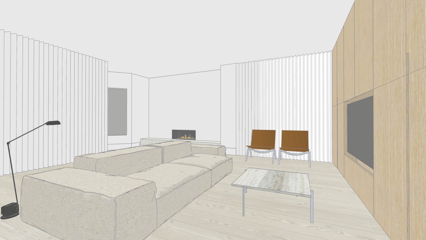 project render with fir floors and living divani by untitled design agency