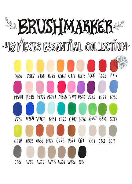 Winsor & Newton Promarker color chart 48 pieces essential collection | Hand-drawn by Julia Henze