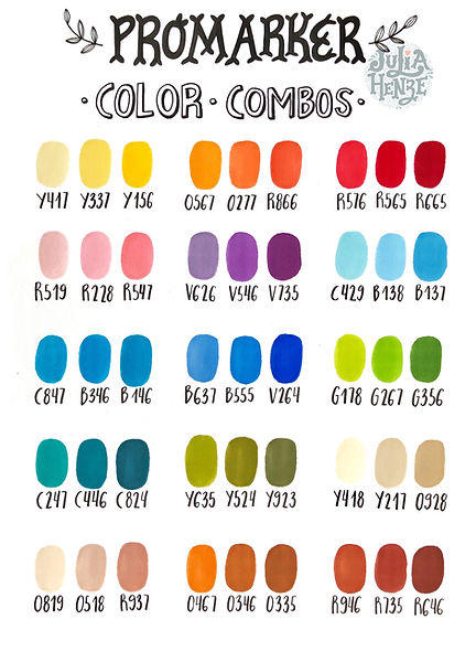 Winsor & Newton Promarker color combinations chart | Hand-drawn by Julia Henze