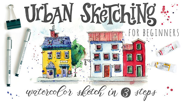 Skillshare class with Julia Henze: Urban Sketching for beginners - Watercolor sketch in 3 steps