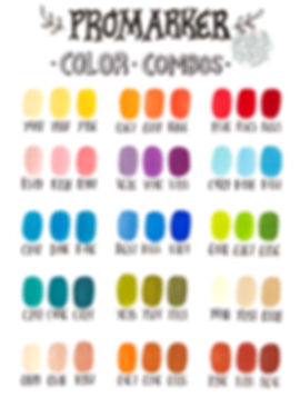 Winsor & Newton Promarker color combos   by Julia Henze  #winsorandnewton #colorchart #colorcombos #promarker #brushmarker #markers