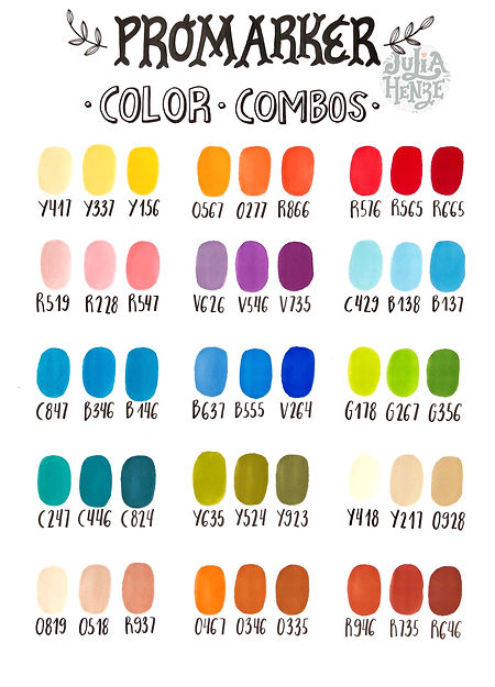 Winsor & Newton Promarker color combos | by Julia Henze  #winsorandnewton #colorchart #colorcombos #promarker #brushmarker #markers