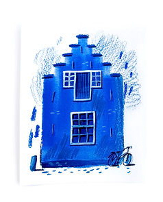 Blue Dutch canal house gouache and colored pencils drawing | by Julia Henze