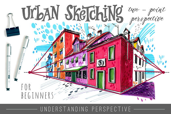 Skillshare class with Julia Henze: Urban Sketching for beginners - Two-Point Perspective