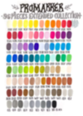 Winsor & Newton Promarker color chart 96 pieces extended collection | by Julia Henze  #winsorandnewton #colorchart #promarker #brushmarker color combo colour combination