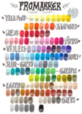 Winsor & Newton Promarker color chart | by Julia Henze  #winsorandnewton #colorchart #promarker #brushmarker