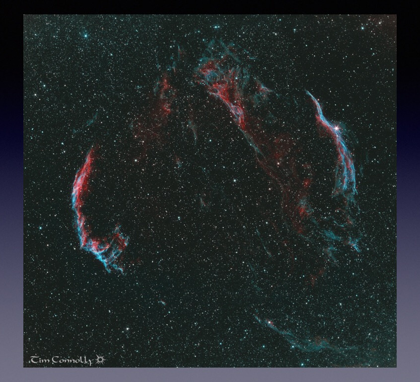Veil nebula imaged through each filter while using the ASIair