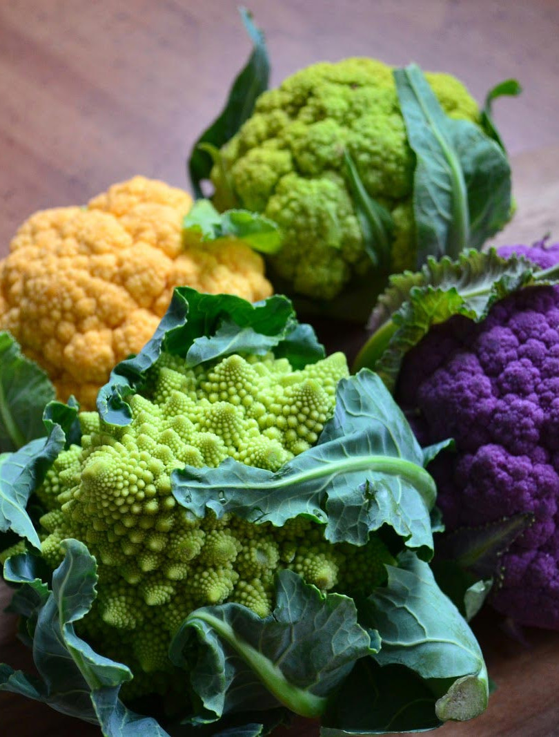 Brightly coloured cauliflowers
