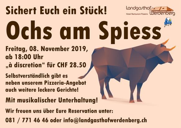 8. November ist Ochs am Spiess