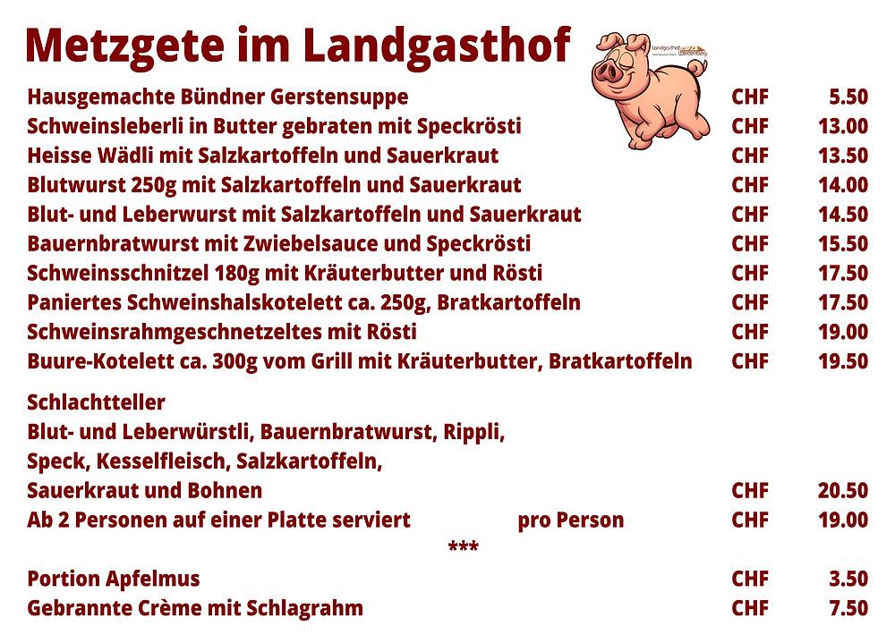 Metzgete Landgasthof Menü