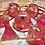 Thumbnail: Pink/Orange Starbursts- 7pc dice set