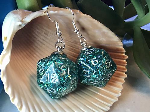 Sprinkles confetti d20- Handmade Dice Earrings