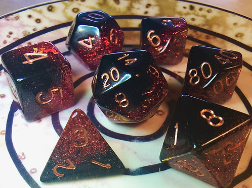 Black and Red bats - 7pc Dice Set